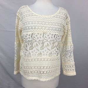 Charming Charlie Cream Sheer Crochet/Lace Blouse